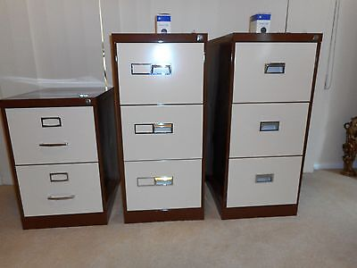 3 drawer NAMCO Filing Cabinet with keys and files.