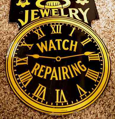 Wow! Porcelain Vintage Jewelry Watch Repairing Sign Ultra Rare Now Discounted!