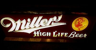 Vintage Miller High Life Beer sign Neon Girl on Moon Rare original ***
