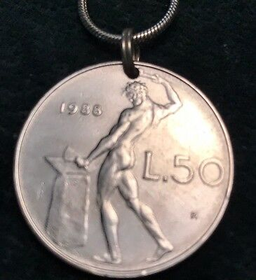 Genuine 1988 Italian Silver Coin Pendant On Complimentary Silver Chain. Muscles