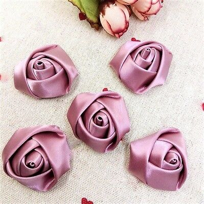5 Pieces Large Satin Ribbon Roses Dusty Rose 1.5 inches Bridal Wedding