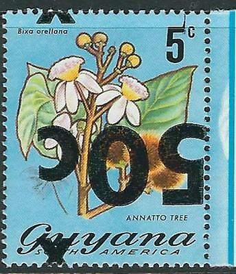 Guyana Error Stamp: Sc.#374 - 50c on 5c Inverted Surcharge
