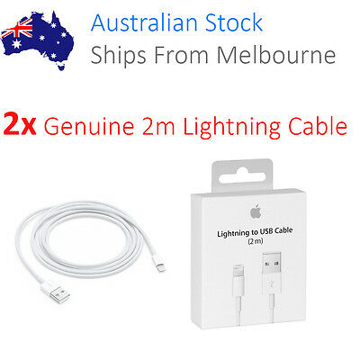 2x 2M Apple ORIGINAL GENUINE Lightning Data Cable Charger for iPhone 5 S C 6