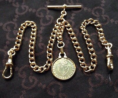1788 George III Guinea Token Fob Rolled Gold Double Albert Pocket Watch Chain