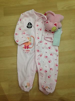 2 Piece Pink Set With Rattle, Size 0-3 Months