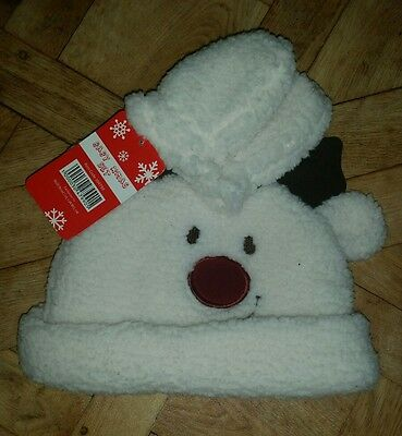 Baby winter fleece hat and mittens set Age 6 -12 Months