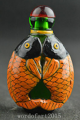 Collectibles old glass handwork painted pair fish unique snuff bottle gift