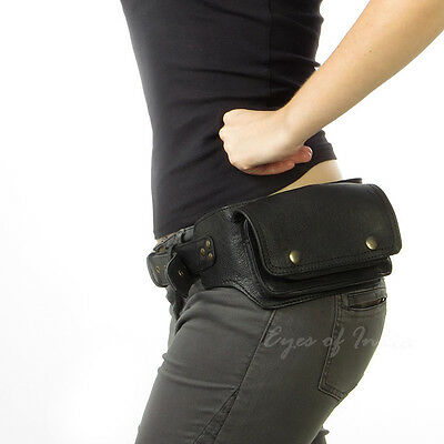 BLACK LEATHER BELT BUM HIP WAIST POUCH BAG Utility Fanny Pack Pocket Travel