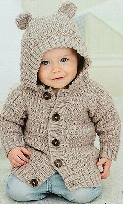 Hand knitted hooded cardigan. 0 to age 5 - boys & girls  17 colour options