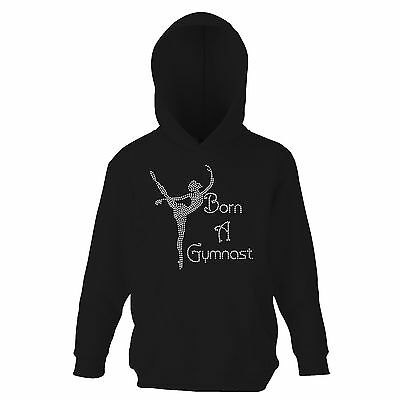 Girls Crystallized Born A Gymnast Gymnastics Hoodie Dance Kids Hoody Varsany