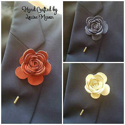 REAL LEATHER rose flower lapel pin boutonniere mans/ ladies/unisex handmade