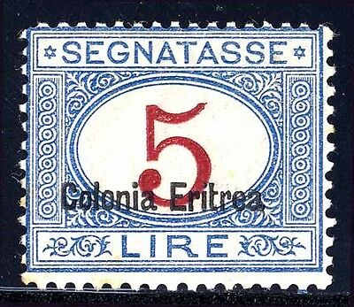 Eritrea Sc. J10a, 1920 5L Postage Due, Overprint at bottom, OG, Mint, Fine.