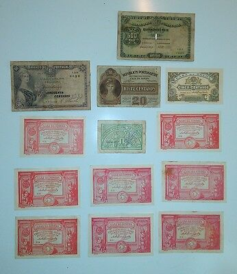 Portugal Lot 13 notes: Monarchy, Republic & Emergency money 1904-1920  G to AUnc