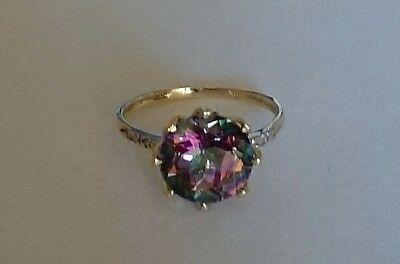 Brand New Genuine 9K Solid Yellow Gold Ring Set with Mystic Topaz & Diamonds