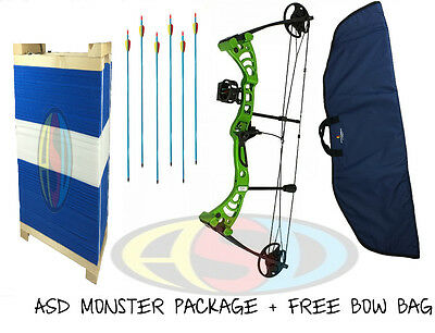 ASD Green Monster Compound Archery Bow PACKAGE 5 Inc Target W/ Free Bow Bag