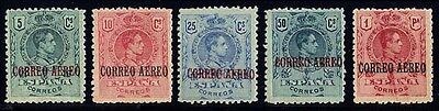Spanish Andorra Sc. C1-5, 1920 5c-1pa King Alfonso XIII Airmail, OG, LH, F-VF.