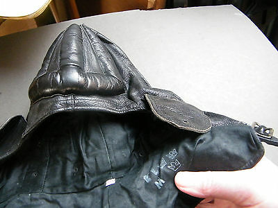 Swedish tank hat black leather, well padded crown