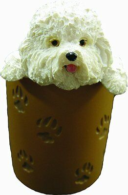 Bichon Frise Pencil Cup Holder with Realistic Hand Painted Bichon Frise Face and