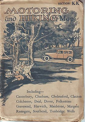 MOTORING and HIKING MAP SECTION KK Inc CANTERBURY,CHATHAM, COLCHESTER, DOVER VGC