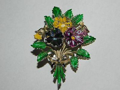 VINTAGE EXQUISITE BRAND BIRTHDAY FLOWER BROOCH PANSY for MAY