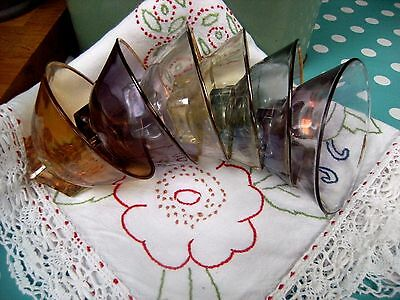 Vintage Retro French Glass Fruit Set Serving Bowl 6 Harlequin Sundae Dishes