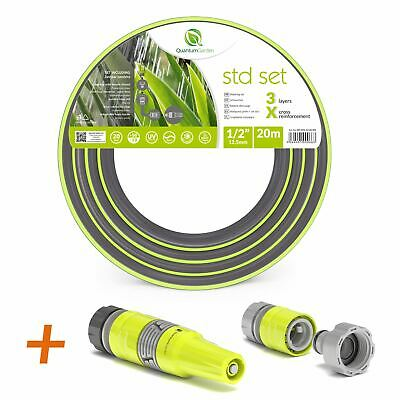 """1/2"""" 20M Reinforced Garden Hose Pipe Spray Watering Nozzle Fittings Set Included"""