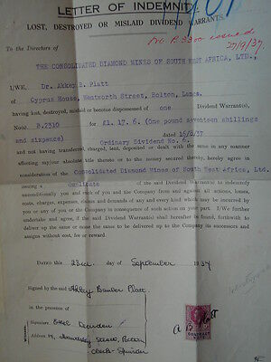 south west africa mining cover. letter of indemnity.  1937.