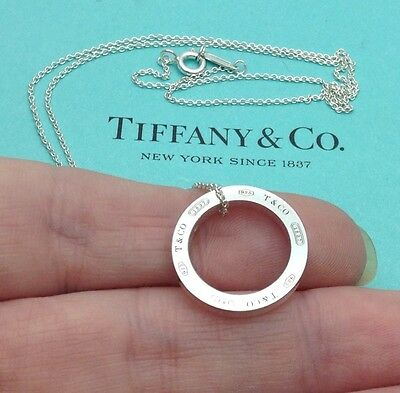 """Tiffany & Co. Sterling Silver 1837 Circle Pendant 18"""" Necklace"""