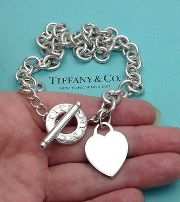 Tiffany & Co. Sterling Silver Heart Tag Toggle Choker Necklace