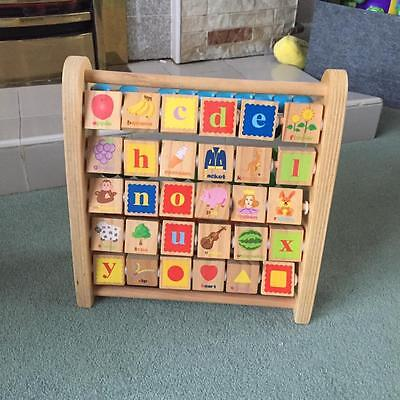 Wooden Abacus and alphabet letters
