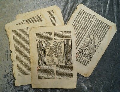 "Post- Incunabula 5 Sheets With 2 Woodcuts ""jacobus De Voragine"" Anno 1505 #b367"