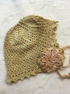 Antique Baby Christening Bonnet Crocheted ???? Tatted ????