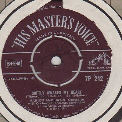 "Marion Anderson: Softly Awakes My Heart / Love, Come To My Aid (7"") Hmv 7P212."