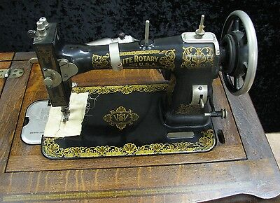 Antique White Family Electric Rotary Sewing Machine in Wood Cabinet