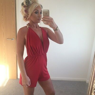 Samantha Chong Red Playsuit All In One Gold Chain Bnwt S 8/10