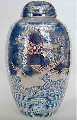 Adult Cremation Urn for Ashes - Beautiful 'Wings of Freedom' Blue/Silver Urn