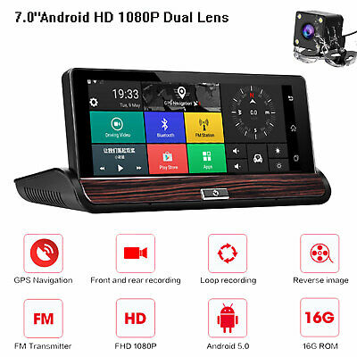 "7"" Android HD 1080P Dual Lens Cam Auto Rearview Mirror Kamera DVR GPS Navigation"