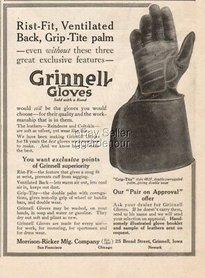 1914 Grinnell Driving Gloves Morrison-Ricker IA Vintage Grip-Tite Style 4827 Ad