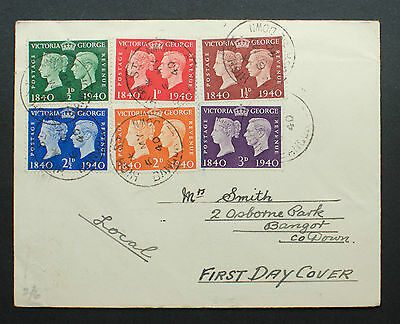 GB 1940 FDC First Adhesive Stamp - (6th May) Cancel Bangor, County Down