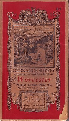 Worcester Ordance Survey Contoured Road Map Scale 1 To 1 Inch Vintage 1939 Vgc