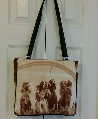 Weimaraner and Springer Spaniel Fabric Handbag large.  New without Tags    NICE