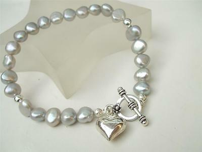 Designer Grey Freshwater Pearl Bracelet Sterling Silver Toggle And Heart Charm