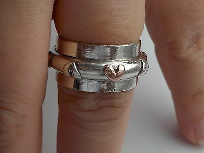 Silver And Gold Hearts Band Ring Metal Detecting Find