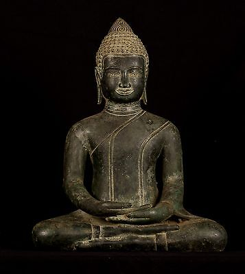 Antique 19th Century Southeast Asia Khmer Meditation Buddha Statue - 50cm/20""