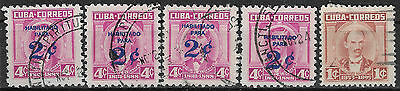 1CUBA 1960/1961 SET OF 5 USED STAMP (Michel # 665,722)
