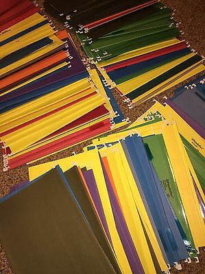 """LEGAL size HANGING FILE FOLDERS Assorted Colors Lot of 50 14¾"""" x 9¼"""" w/ tabs"""