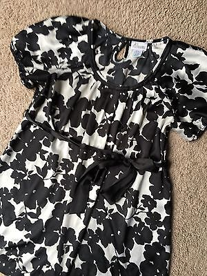 Motherhood Maternity S Small Black White Contrast Floral Tie Pleated Blouse Top