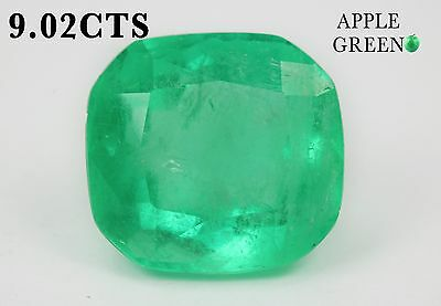Cushion Cut Green 9.02cts Loose Natural Colombian Emerald Loose Gemstone