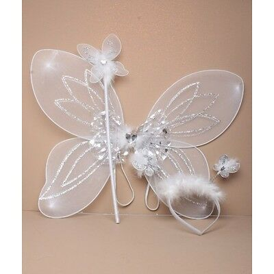 NEW White net heart fairy wings wand and bopper set childrens party fancy dress