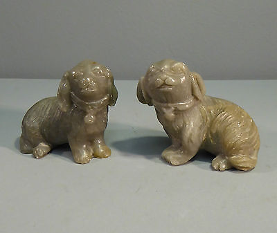 Chinese Antique Carved Pair of Pekingese Dogs Green Soapstone - Jade interest